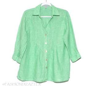Foxcroft Linen Babydoll top green Size 8